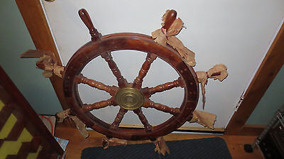 WOOD MARITIME Nautical Decor SHIP'S WHEEL WOODEN Wall Décor BRASS FULL SIZE