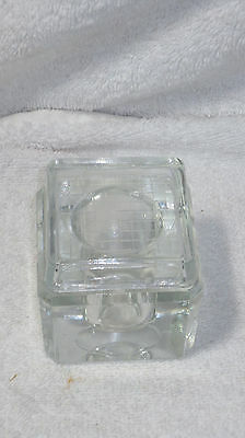Clear Glass Vintage Inkwell Desk Top Display Ink Pen Dip Square With Lid