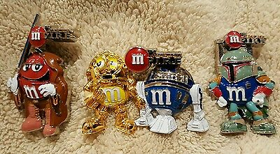 M&M's Star Wars  Mpire pin set RARE C-3PO R2D2 Skywalker Bubba Fett x3 set RARE!
