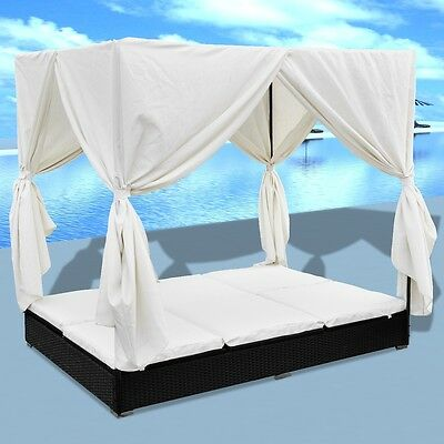 New Luxury Outdoor Black Poly Rattan Sun Lounger 2 Persons with Curtain