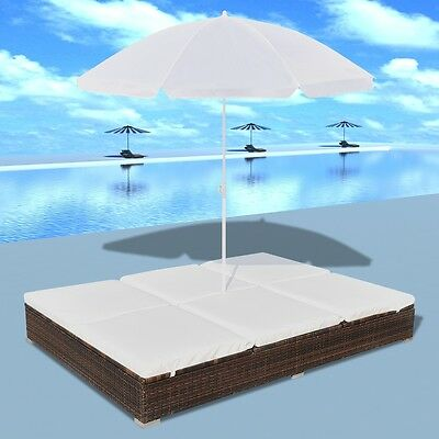 New Luxury Outdoor Poly Rattan Sun Lounger 2 Persons with Umbrella Brown