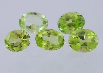 5pcs Peridot 2.99ct Oval Loose Faceted Natural Gemstone 5x4mm to 6x5mm