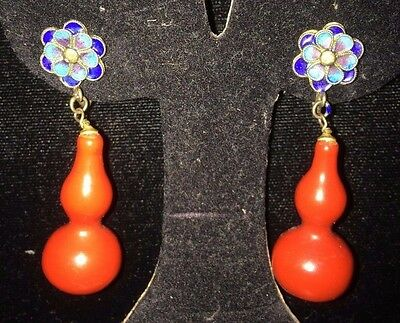 antique enamel chinese earrings with coral colored form