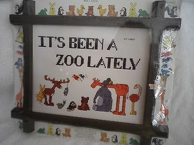 """the New Berlin counted cross stitch IT'S BEEN A ZOO LATELY"""" #30027 kit animals"""