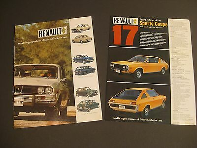 TWO 1972 RENAULT SALES BROCHURES / Renault 12, 15. 16. 17 / Very Nice!!!.