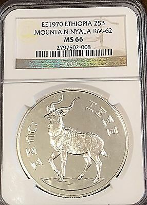 Ethiopia 1970 (1977) Silver 25 Birr NGC Certified MS 66 Low Mintage 4,002 Pcs