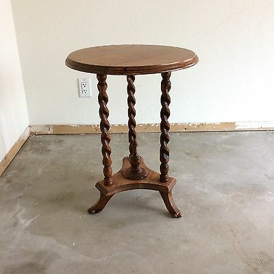 Barley Twist Oak Small Round Accent Table