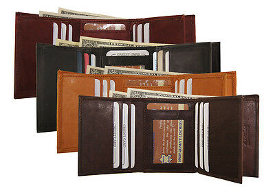 Mens Cow Leather 2 ID Trifold Center Flap Credit Card Wallet Prime AG Wallets