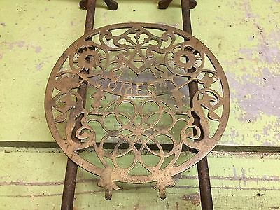 Vintage Fireplace Trivet Stand, Masonic Comfort, Brass And Cast Iron, English