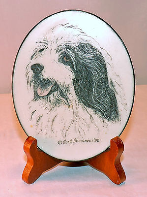 Vtg EARL SHERWAN Bearded Collie Dog Beaded Glass Oval PLAQUE w/ Stand