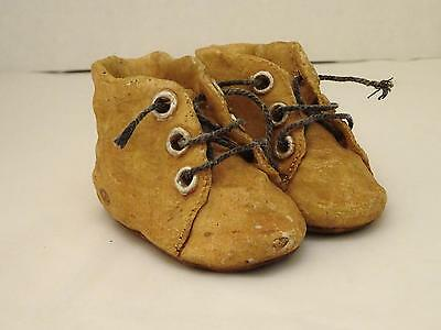 RARE VINTAGE Heavy Clay Pottery Pair of Brown BUSTER BROWN Baby Shoes