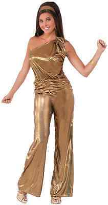 Solid Gold Lady 70's Disco Fever Dancer Fancy Dress Up Halloween Adult Costume