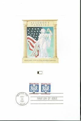 Justice Holding Scales and Scroll - First Day Issue - 1991 FLEETWOOD PROOFCARD