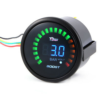 "2"" 52mm Car Truck Turbo Boost Volt Gauge Digital LED Meter Bar Electronic BI522"