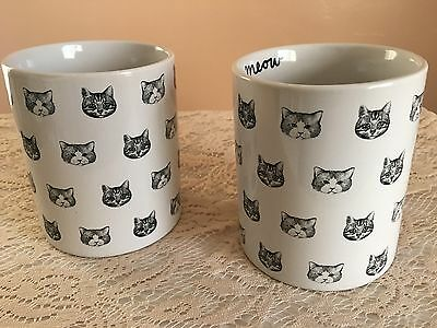 Funny Cat Faces Coffee Cup Set Two Fur Baby Crazy Cat Lady Tribe Pack Love New