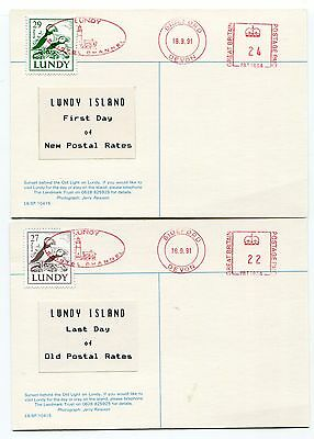UK GB  - Lundy - Bristol Channel 1991 First Day & Last Day of Postal Rate Cards