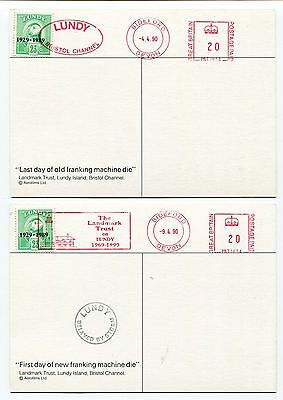 UK GB  - Lundy - Bristol Channel 1990 - Two Meter / Stamp Combo Postcards -