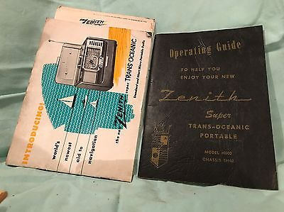 Vintage Zenith H500 Trans-Oceanic Portable Manual & Brochure Chassis 5H40 Radio