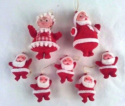Vtg Flocked Santas Mrs Claus Christmas Ornaments Chenille Pom Pom Holiday Figure