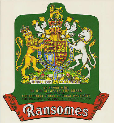 Ransomes Vintage Mower Elizabeth II Coat of Arms Repro Catcher Decal
