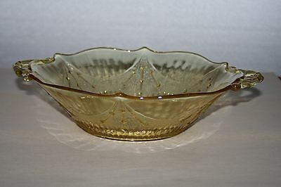 Yellow Depression Era Elegant Glass Handled Serving Bowl with Textured Design