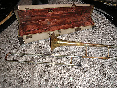 VINTAGE ANCIENT GETZEN TROMBONE WITH ORIGINAL CASE no mouthpiece