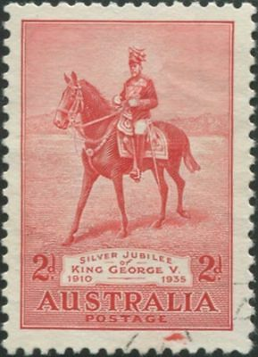 Australia 1935 SG156 2d Jubilee variety with splash of red in border FU