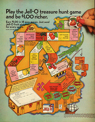 1966 vintage Ad, JELL-O treasure Hunt Game  101013