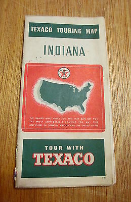 Texaco 1930's Indiana Road Touring Map Gas Oil Service Station Vintage