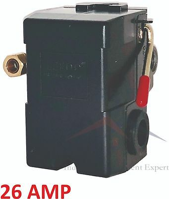 Heavy Duty 26A Pressure switch for air compressor 95-125 w/ Unloader Single Port