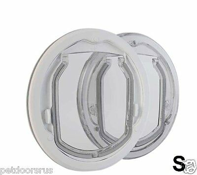 Cat & Small Dog Door Cat Flap - Glass Fitting 4 Way Locking  - White or Clear