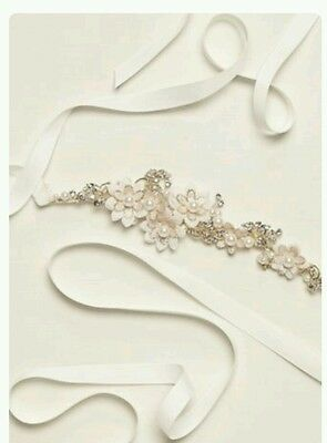 David's Bridal Floral Structured Sash, S9076, Gold ($129)