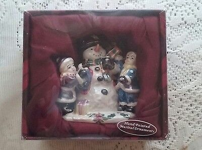 ~Gorgeous Hand Painted Musical Ornament~Royal Albert Old Country Roses~Snowman