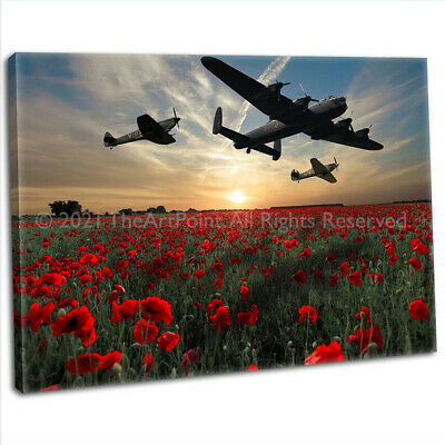 Lancaster Spitfire & Hurricane Over Poppy Field Digital Canvas Art Print