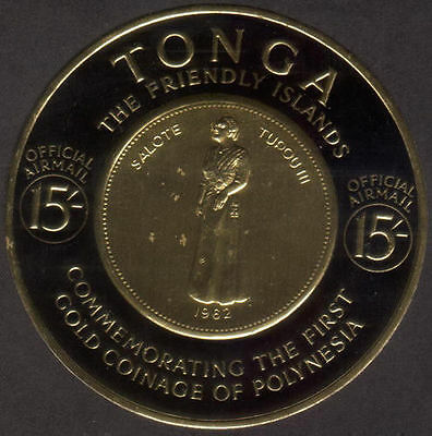 Tonga official 1963 SGO17 15/- Stamp of Polynesia Gold Coin MNH