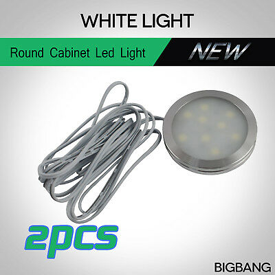 2pcs 12V 5050 9LED Round Cupboard Wardrobe Car Dome Roof Cabinet Ceiling Light