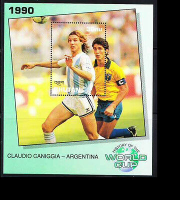 Bhutan MNH SS, Claudio Caniggia of Argentina, History of WC, Football, Sport -T2