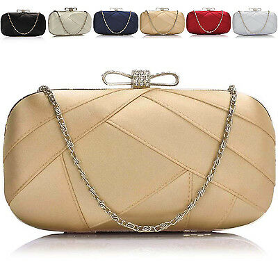Boxed Satin Women Bridal Clutch Bag Designer Ladies Evening Party Prom Diamante
