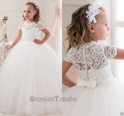 Flower Girl Dress Communion Pageant Party Prom Princess Bridesmaid Wedding Gown