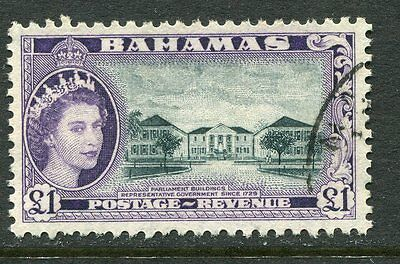 Bahamas: 1954 QE2 £1 stamp SG216 Fine Used AE005