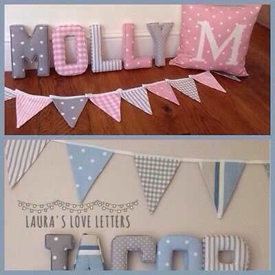 Bunting, Fabric letters, Wall Art Handmade Padded, Nursery, name, personalised,