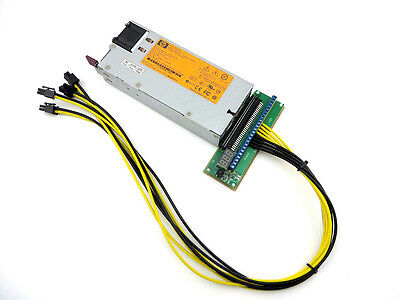 HP 750W Power Supply PSU + 4 PCI-E 14AWG breakout Kit for Antminer S3, S1, S5