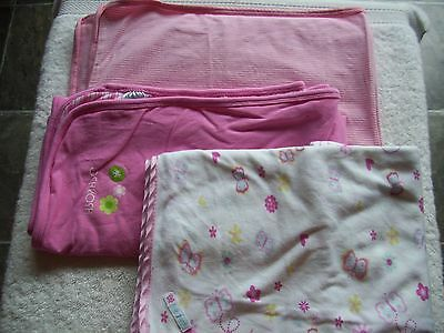 Baby Girl's Pink & White Cotton Knit Wrap/Blanket x 3 Incl Pumpkin Patch VGUC