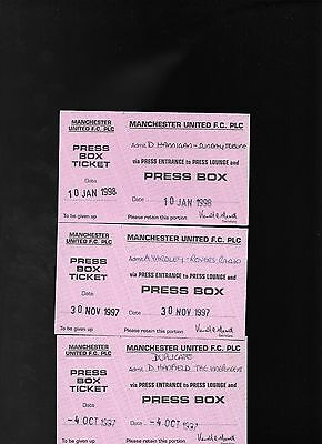 Press Box Ticket-Manchester United V Crystal Palace 1997/98
