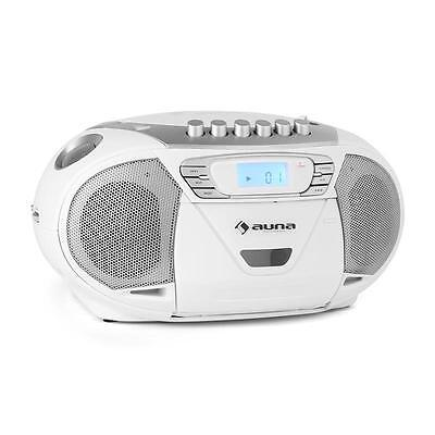 Portable Cd Stereo White Boombox System Radio Recorder Usb Mp3 Cassette Tape
