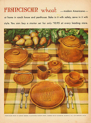 1953 vintage ad for Franciscan Wheat Tableware  -112611
