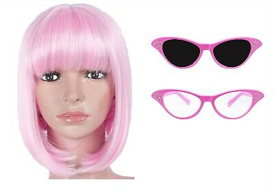 Ladies Pink Glasses With Dark Or Clear Lense + Bob Wig 1950S Hen Fancy Dress
