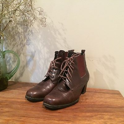 Vintage Leather Lace Up Ankle Boots