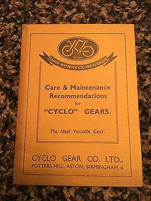 VINTAGE 1930s CYCLO gears care & maintenance booklet great condition