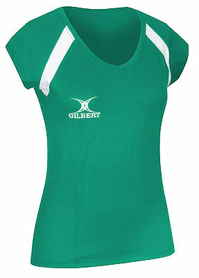Clearance Line New Gilbert Netball Blaze Polo Top Red Size 8